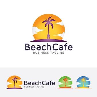 Beach cafe logo template