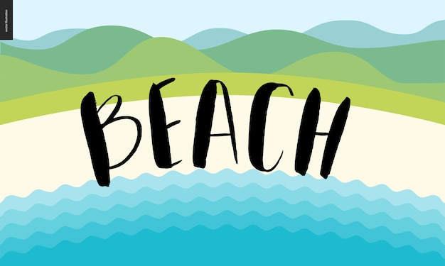 Beach calligraphy lettering