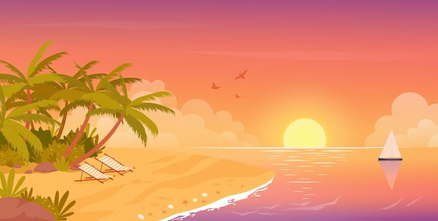 Beach calm sunset tropical travel vacation in summer tropical island seaside landscape