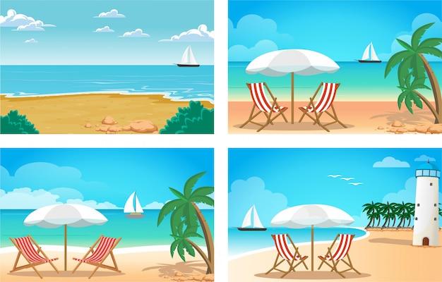 Beach cartoon illustration