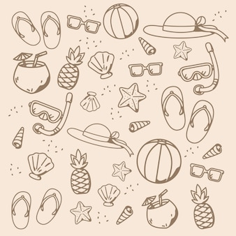 Beach cartoon pattern