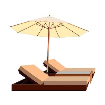 Шезлонг и зонтик, шезлонг, пляжный зонт