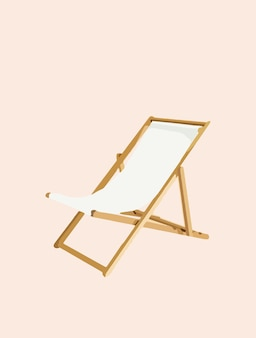 Beach chair, chaise lounge, holiday and vacation - vector