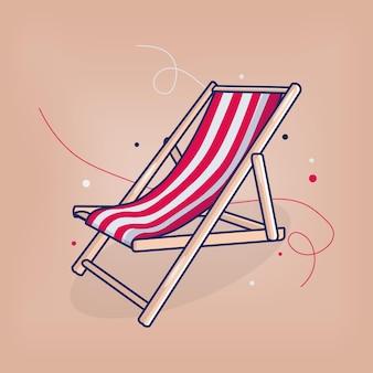 Beach chair summer vibes vector flat illustration