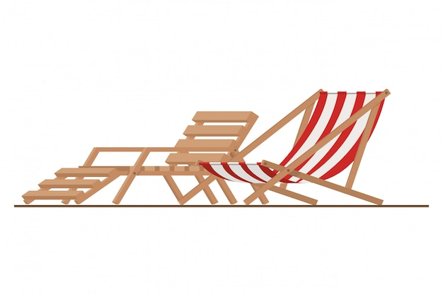 Beach chair for sunbathing on white