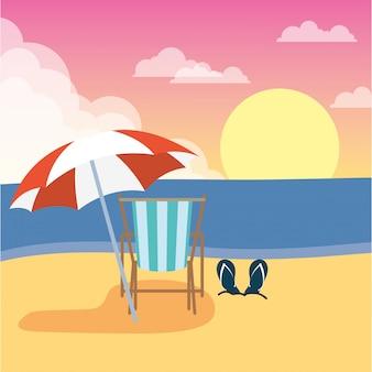 Шезлонг с зонтиком летние каникулы сцена