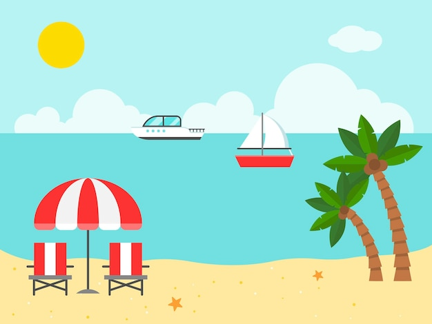 Beach chairs and umbrella on the beach illustration