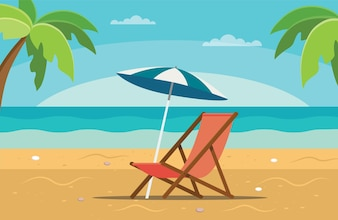Beach chaise longue with umbrella