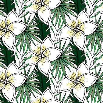 Beach cheerful pattern wallpaper of tropical dark green leaves