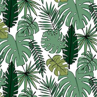 Beach cheerful pattern wallpaper of tropical dark green