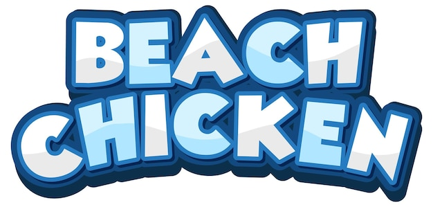 Beach chicken font design in cartoon style isolated on white background