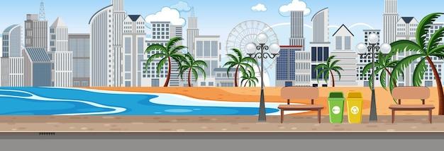 昼間のビーチ都市公園の水平方向のシーン