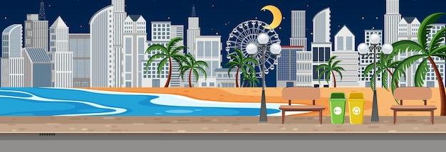 Beach city park horizontal scene at night time