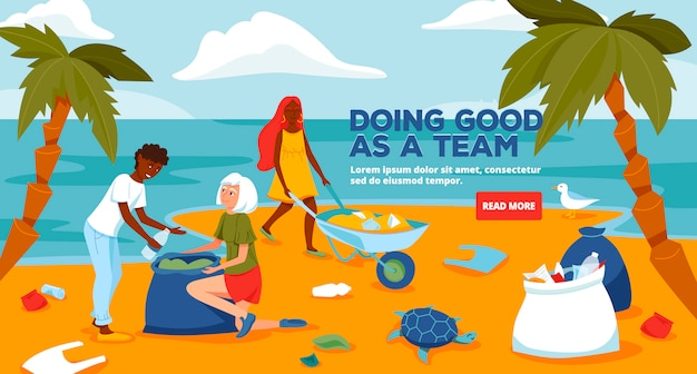 Beach cleaning banner template illustration.
