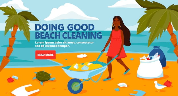 Beach cleaning banner template
