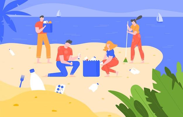 Уборка пляжа. очищение загрязненной планеты, экологическая волонтерская деятельность, люди собирают мусор на пляже и убирают мусор. эко активисты собирают пластиковый мусор