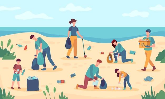 Уборка пляжа. волонтеры защищают морское побережье от загрязнения. люди собирают мусор с пляжей. иллюстрация охраны окружающей среды. вывоз мусора и чистка пляжа, экологический открытый