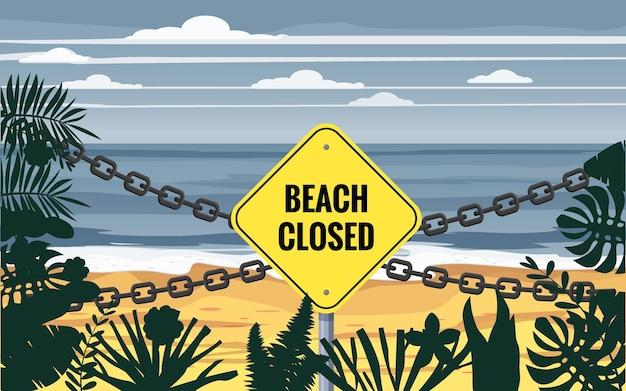 Пляж закрытая сеть указателей вход на пляж закрыт летние пальмы и растения