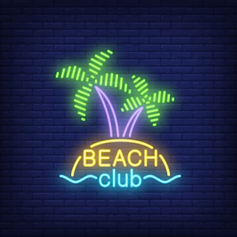 Beach club lettering and cocktail and island with palms.