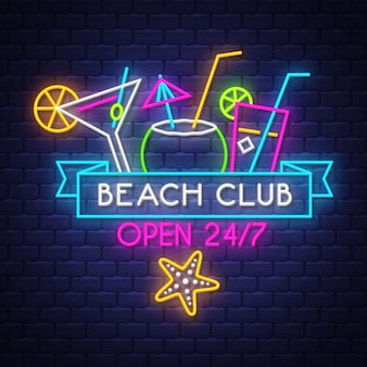 Beach club open 24/7. summer holiday neon lettering