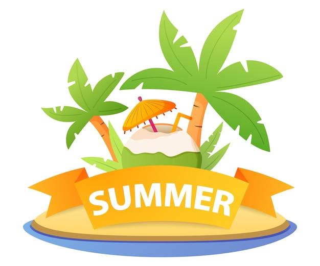 Пляжный коктейль кокос. пина колада в кокосовой стружке с зонтиком. летняя распродажа в тропическом стиле.