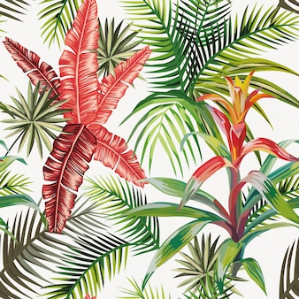 Beach composition of tropical leaves and plants seamless pattern wallpaper