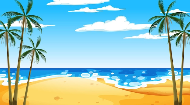 Beach at daytime landscape scene with palm tree
