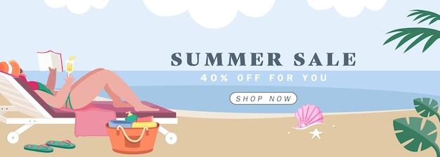 女性とビーチデッキチェアは海の背景バナーで日光浴です