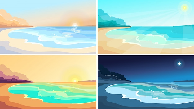 Beach at different times of day. beautiful landscapes in cartoon style.