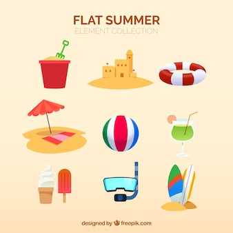 Beach elements collection with clothes in flat style