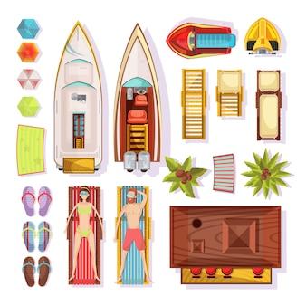 Пляжный вид сверху, включая людей на шезлонгах, тапочках, зонтиках, лодках, водных мотоциклах, бар, векторная иллюстрация