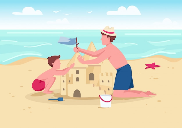 Beach family activity flat color illustration