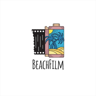 Beach film logo. flat color roll movie