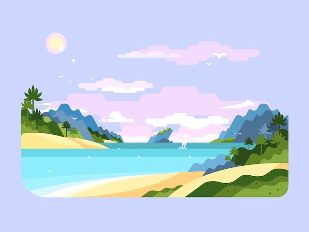 ビーチフラットデザイン。夏休み、熱帯の自然の旅、ベクトルイラスト