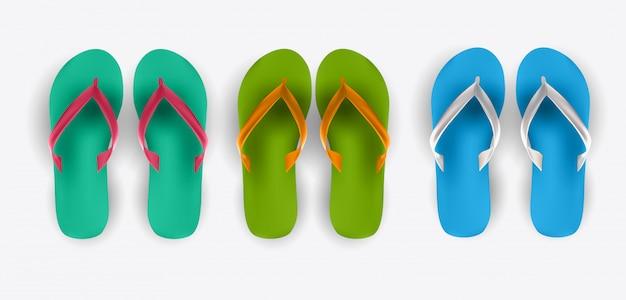 Beach flip flop collection set