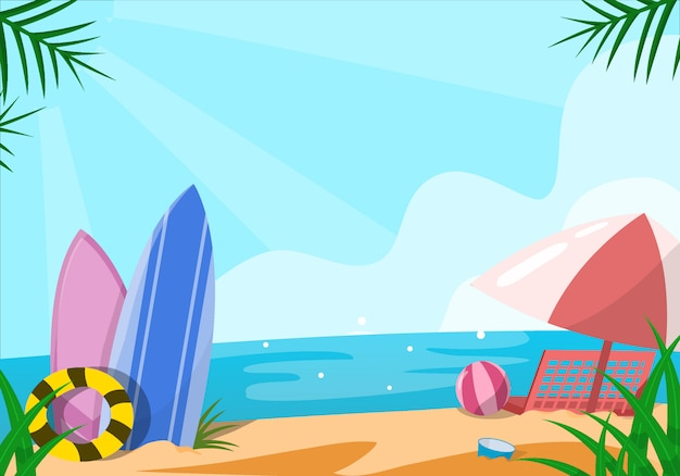 ビーチの花夏イラスト
