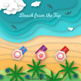 Beach from the top background in flat style
