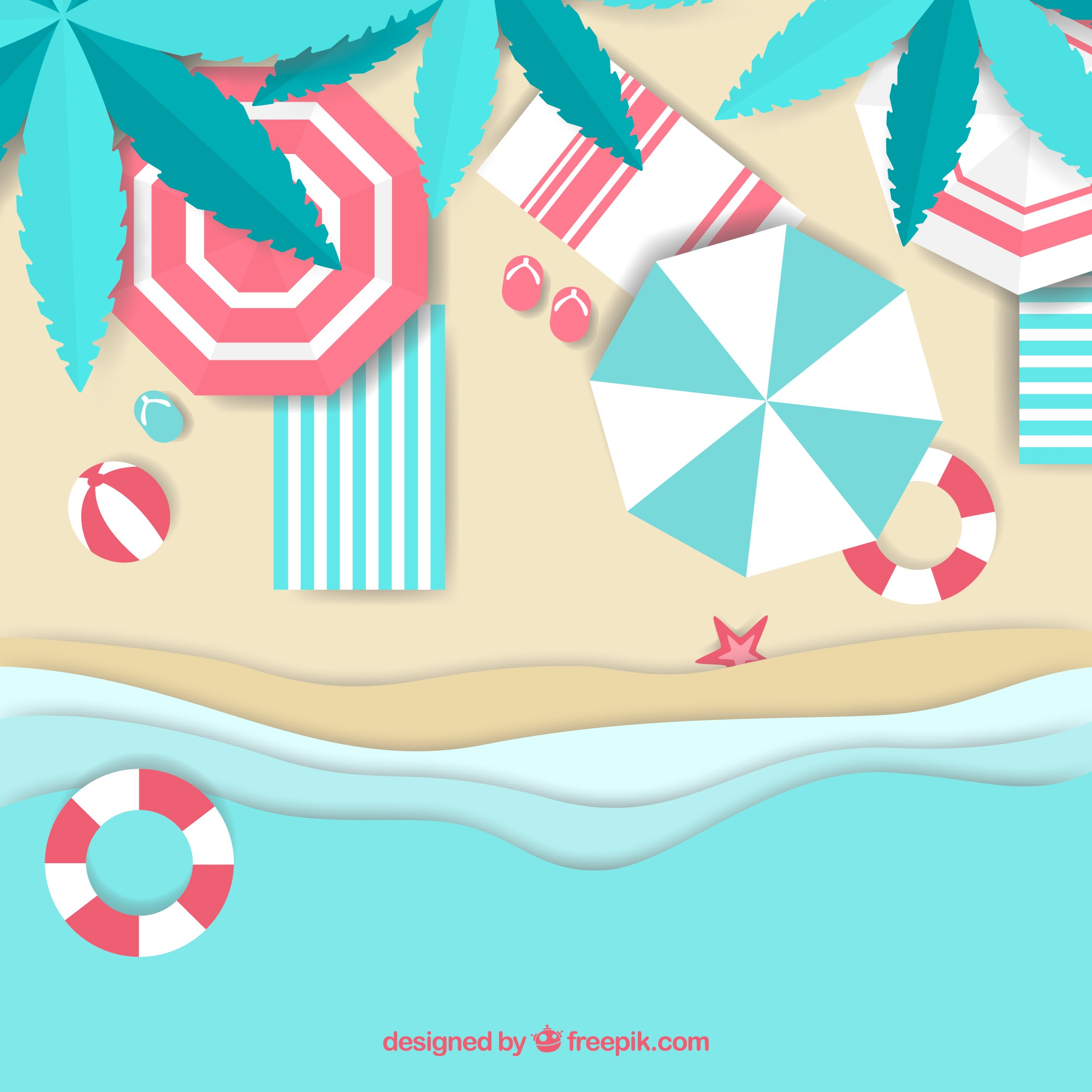 Beach from the top in paper style