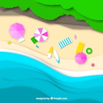 紙の上からビーチまで