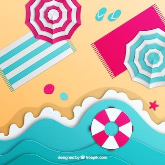 Пляж сверху с бумажным стилем