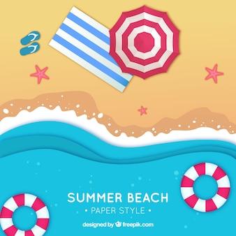 Beach dallo sfondo in alto in stile piatto