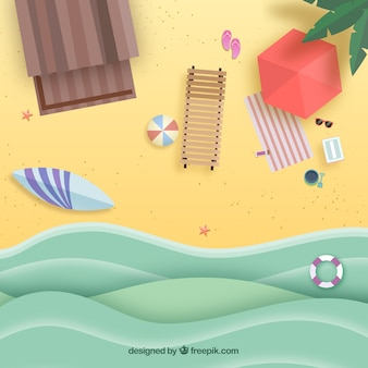 Beach from the top background in paper style