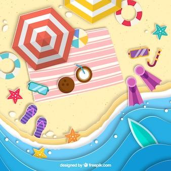 Beach dall'alto con texture di carta