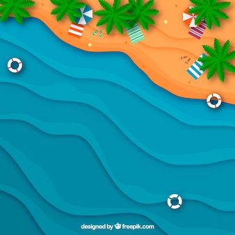 Beach fron the top in paper style