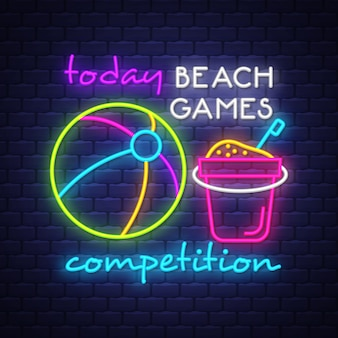 Beach games competition neon sign lettering