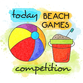 Beach games competition. watercolor summer poster