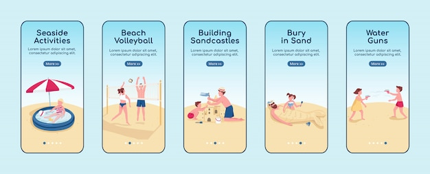 Beach games onboarding mobile app screen   template. building sandcastle activity. walkthrough website steps with characters. ux, ui, gui smartphone cartoon interface, case prints set