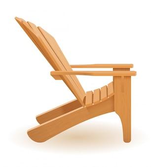 Beach or garden armchair lounger deckchair made of wooden vector illustration