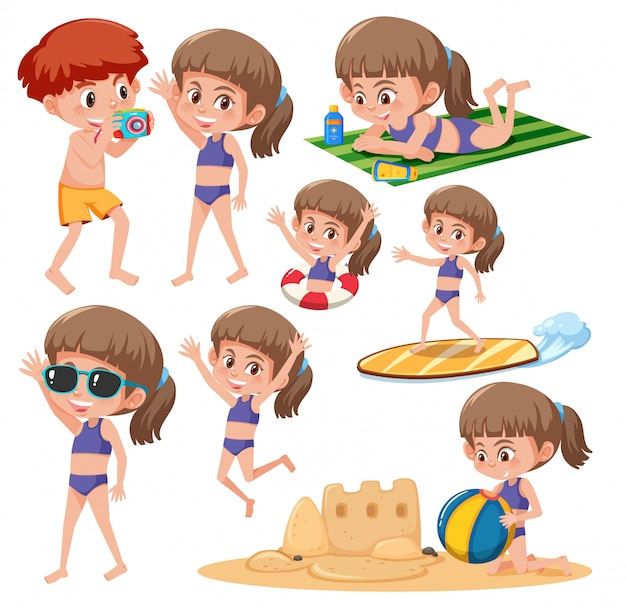 Beach girl character set