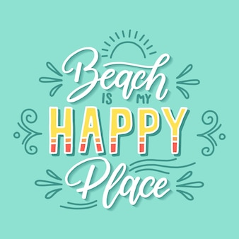 Beach happy place quote lettering